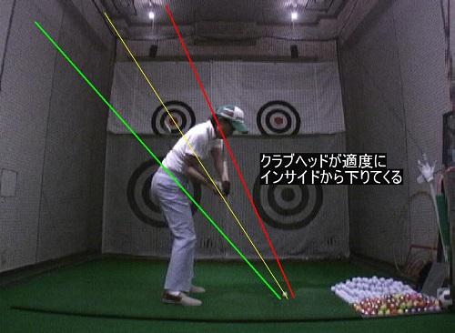 ダウンスイングでクラブヘッドが適度にインサイドから下りてくる。